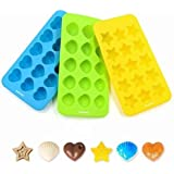 Silicone Baking Molds, Ankway 3PCS Chocolate & Candy Molds BPA Free Small Flexible Hearts, Stars & Shells Baking Wax Molds or Silicone Ice Cube Trays Mini Ice Maker Molds