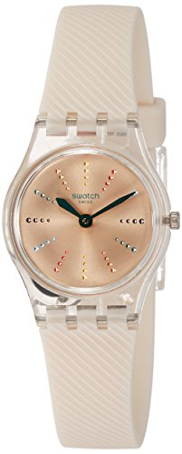 Swatch Quadretten Light Pink Sunray Dial Ladies Silicone Watch LK372