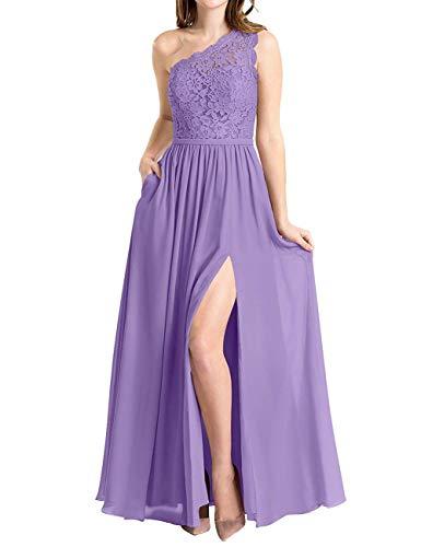 One Shoulder Prom Gown - BBCbridal Women's One Shoulder Long Evening Dress Lace Chiffon Bridesmaid Dress Side Split Prom Gowns Light Purple Size 12
