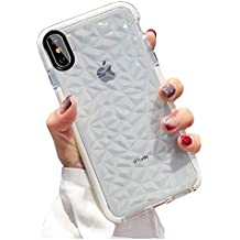 KUMTZO Compatible iPhone Xs/X Case, Crystal Clear Slim Diamond Pattern Soft TPU Anti-Scratch Shockproof Protective Cover for Women Girls Men Boys with iPhone Xs/X 5.8 inch - White
