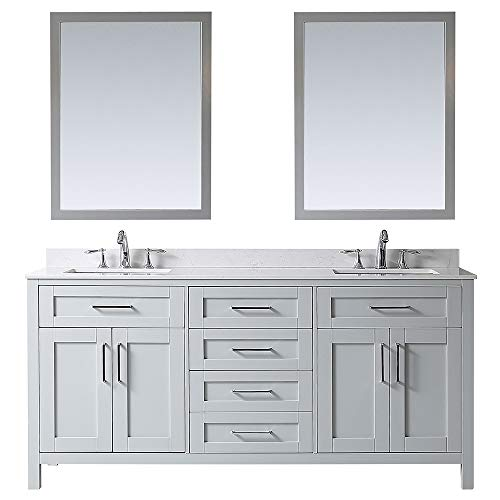 Ove Decors Maya 72 Dove Grey Double Vanity with Marble Top, Backsplash and Two Mirrors, 72 inches,