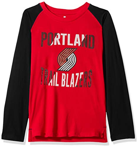Outerstuff NBA NBA Youth Boys Portland Trail Blazers Free Throw Long Sleeve Fashion Tee, Red, Youth X-Large(18)