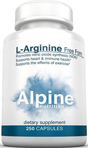 Alpine Nutrition L Arginine HCL 500mg Free Form - NOS Nitric Oxide Supplements - 250 Count