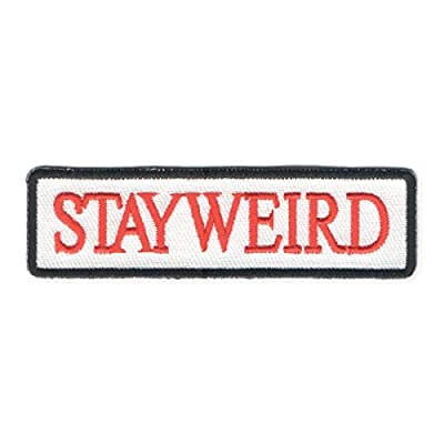 Zad Stay Weird Name Badge Embroidered Iron On Patch Applique, Red