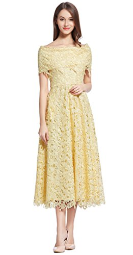 Merope J Womens Lace Boat Neck Maxi Elegant Vintage Dress...