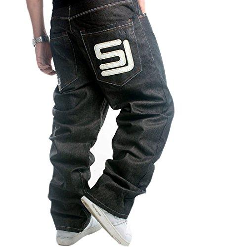 QBO Men's Cool Hip-hop Baggy Denim Loose Pants-46