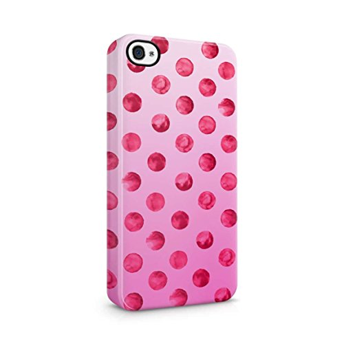 Strawberry Red Dots Pink Ombre Hard Plastic Phone Case For iPhone 4 & iPhone 4s