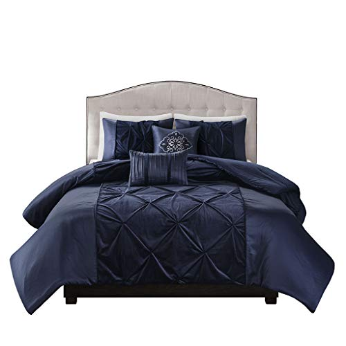 Madison Park Mia Faux Velvet 5 Piece Duvet Cover Set Navy Full/Queen