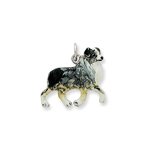Best Birthday Gift Silver Enamel Australian Shepherd Charm ()