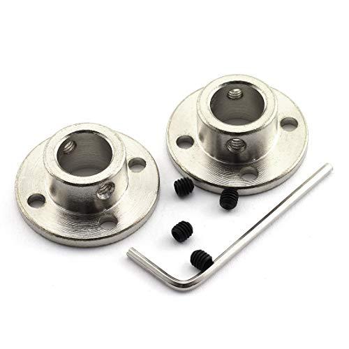 HJ Garden 2pcs 12mm Flange Shaft Coupling High Hardness Metal Flanged Joint Guide Shaft Support Coupler for DIY Model Shaft Connection