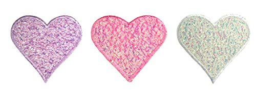 Altotux Iridescent Heart Self Adhesive Applique Sticker Patch White Pink Lilac ()