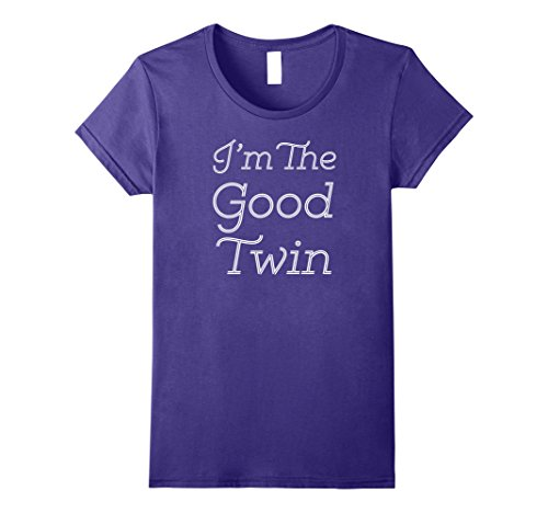 Good Costume Ideas For Twins (Womens Im The Good Twin | Funny Halloween Horror Shirt Medium Purple)