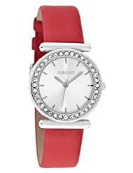 Ferenzi Women's | Fashionable Crystal Bezel Silver Small Face Watch with Red Band | FZ15702