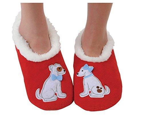 Snoozies Womens Classic Splitz Applique Slipper Socks - Love Pups, Large