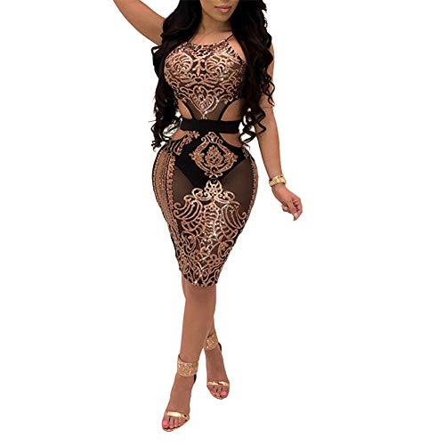 ECHOINE Women's Sexy Mesh See Through Bodycon Dress Sequin Sleeveless Cocktail Party Clubwear Gold S
