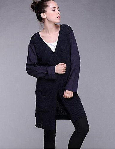 Neck Navy Polyester elastic Solid Long Women's Xuanku Cardigan V Print Winter Daily Long Cotton Wool Fall Casual Thick Sleeves Blue Simple Micro RFq6zR