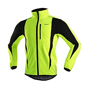 ARSUXEO Winter Warm UP Thermal Softshell Cycling Jacket Windproof Waterproof Bicycle MTB Mountain Bike Clothes 15-K Green Size Medium