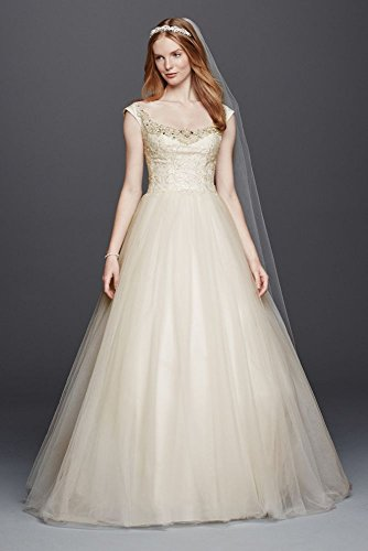 Oleg Cassini Embellished Tulle Wedding Dress Style CWG733, Ivory, 0