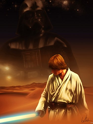 Skywalker Poster - STAR WARS A NEW HOPE Movie Luke Skywalker Darth Vader Tatooine Painting Awesome Art Artwork By Richard Williams Poster Print 32x24 Poster Print