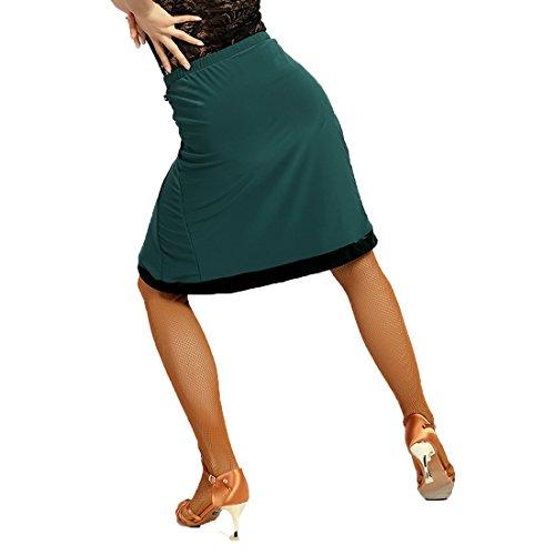Professionale Latino In Moderno Pieghevole Gonne Irregolare G2026 green Da Danza Velluto Ballo Di sbs Scgginttanz Bordo Con Le Superficie Yq5Fwf