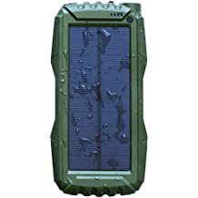 Solar Phone Charger 25000mAh,WBPINE Power Bank External Backup Battery Charger with Dual USB Port for Cell Phone and More(green)