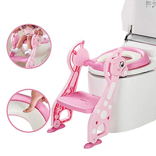 - Kidsidol Potty Training Toilet Seat with Step Stool Ladder and Soft Cushion for Baby Boy and Girl