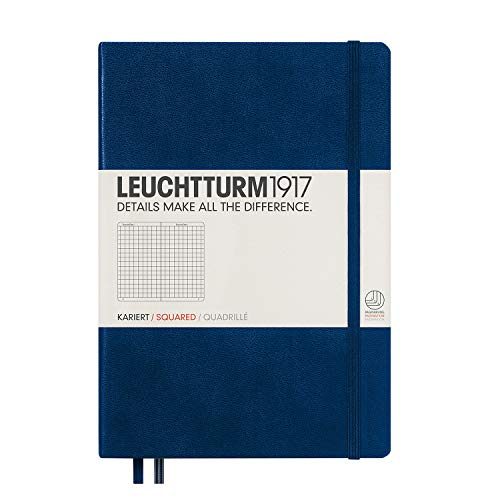 Leuchtturm1917 Medium A5 Squared Hardcover Notebook (Navy) - 249 Numbered Pages