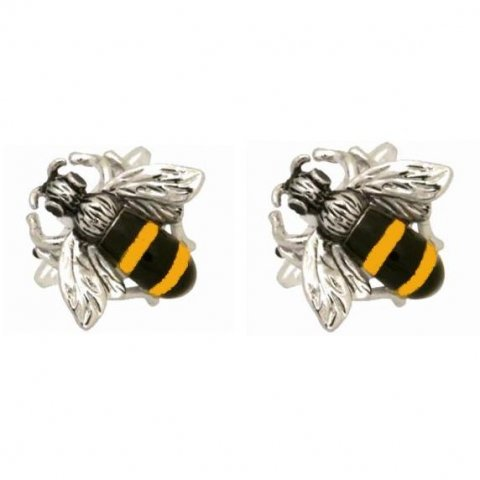 Dalaco Rhodium Plated Bumble Bee Cufflinks