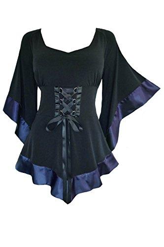 Dare To Wear Victorian Gothic Boho Women's Plus Size Treasure Corset Top in Plum 4X