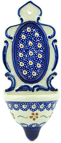 Polish Pottery 7¾-inch Wall Pocket (Sweet Red Flower Theme) + Certificate of Authenticity by Polmedia Polish Pottery (Image #2)'
