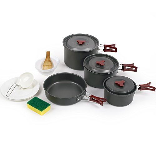 Forfar Camping Cookware, 15 Piece Outdoor Camping Pan for 5-6 Person, Cookware Mess Kit