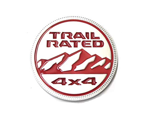 Zcardon 1x Jeep Trail Rated 4×4 Trunk Tailgate Fender 3D Metal Emblem Badge Logo Replacement for Jeep Wrangler 2009-2017 (Silver Red) -