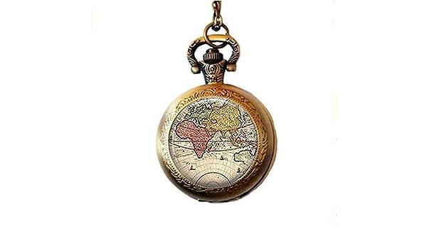 Collar de reloj de bolsillo con mapa del mundo, estilo ...