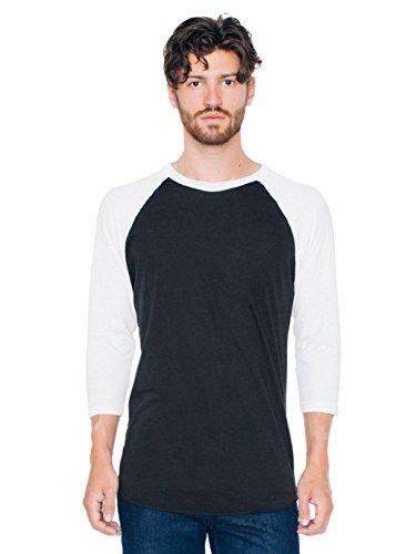 - American Apparel  Unisex Poly-Cotton 3/4 Sleeve Raglan Shirt, Black/White, X-Large