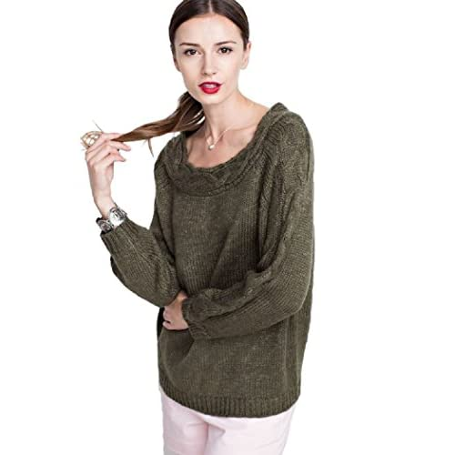 Easel Long Sleeve Chunky Knit, Boatneck Pull Over Sweater