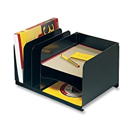 MMF Industries Letter-Size Steel Vertical/Horizontal Combination Desk Organizer, Black (26420HV004)