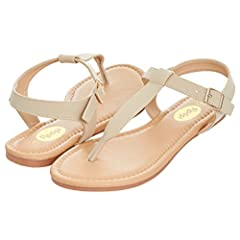 26fcde7e8b828 Womens Summer Flat Sandals T-Strap Thong Buckle Ankle Strap S ..