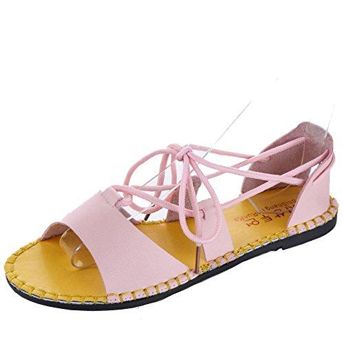 COOLCEPT Mujer Moda Bohemian Beach Planos Sandalias Gladiator Cordones Zapatos Rosado