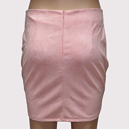 FuweiEncore Haute Jupe Rose Cuir Faux Courte Zipp Retro Taille Femme Line Jupe A Mini Mini Jupe awraq