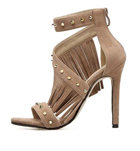 Chaussures apricot Summer Nail LINYI New Stiletto Femmes Rivets Sandales Talons Tassel qwOgRHC