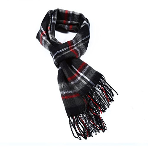 Luxuriouse Soft Wool Touch Tassel Ends Scarf (ONE SIZE, Black&Red) (Mens Dress Scarf)