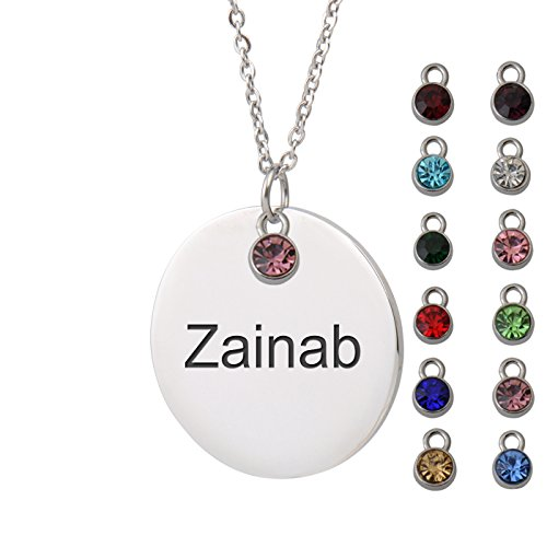 (HUAN XUN Zainab Name Name Necklace Personalized Silver Round Initial Necklace Personal Jewelry Birthday Valentine Gift ...)