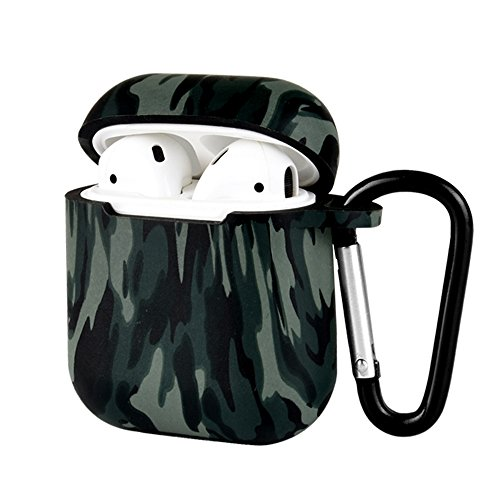 Compatible with AirPods Protective Case, Portable Silicone Cover Shock Proof Protective Cover Skin with Sport Carabiner & Dustproof Plug Compatible with Apple Airpods Charging Case (Camouflage ()