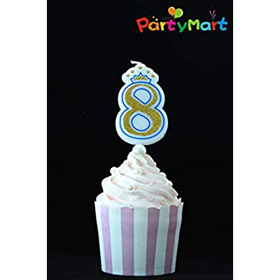 PartyMart Number 4 Giltter Candle, Blue Number 4: Home Improvement