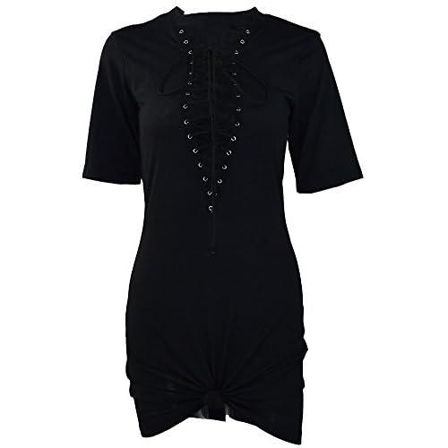 01822a4f69f TOB Women s Sexy Halter Lace up Mini T Shirt Club Dress 50%OFF ...