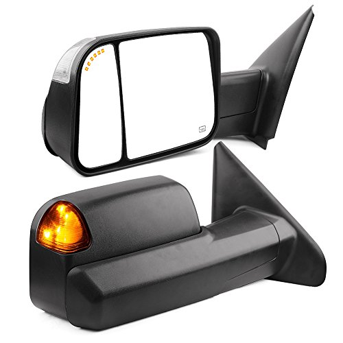 (Towing Mirrors Compatible for Dodge Ram, YITAMOTOR Power Heated Arrow Turn Signal Light Tow Mirrors, for 2002-2008 Dodge Ram 1500, 2003-2009 Dodge Ram 2500)