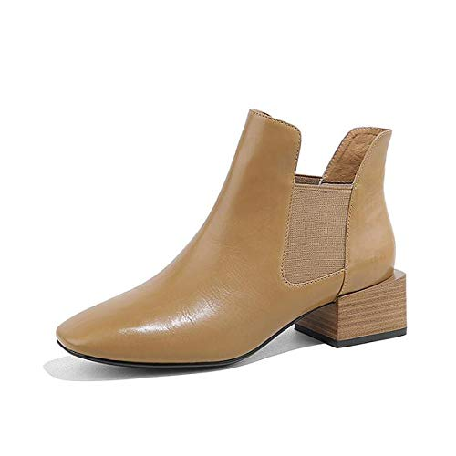 Camel 6.5-7 US Camel 6.5-7 US Women's Combat Boots Cowhide Fall & Winter Boots Chunky Heel Black Camel