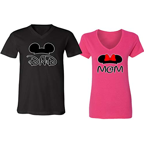 V-Neck Couple for Women and Men Disney Minnie Mom Mickey Dad Family Couple(Black-Heliconia,Men-S/Women-M)