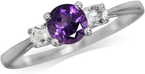 Natural African Amethyst & White Topaz 925 Sterling Silver Ring