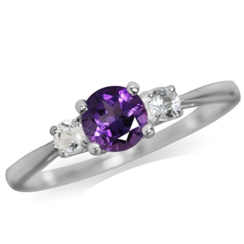 Petite Natural African Amethyst & White Topaz 925 Sterling Silver Ring Size 6